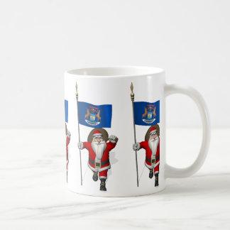Santa Claus With Ensign Of Michigan Coffee Mug
