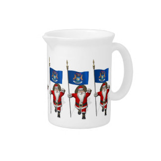 Santa Claus With Ensign Of Michigan Drink Pitcher