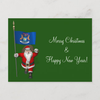 Santa Claus With Ensign Of Michigan Holiday Postcard