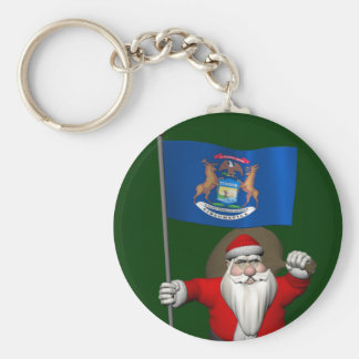 Santa Claus With Ensign Of Michigan Keychain