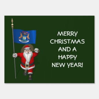 Santa Claus With Ensign Of Michigan Lawn Sign