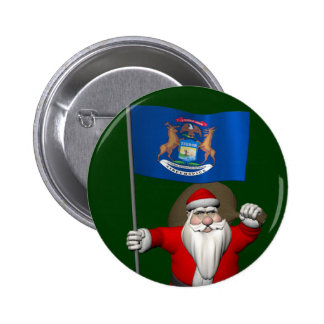 Santa Claus With Ensign Of Michigan Pinback Button
