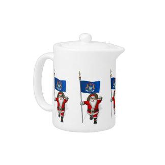Santa Claus With Ensign Of Michigan Teapot