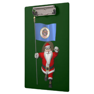 Santa Claus With Ensign Of Minnesota Clipboard