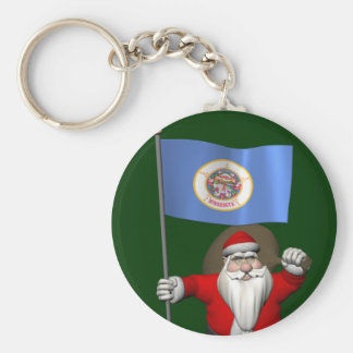 Santa Claus With Ensign Of Minnesota Keychain