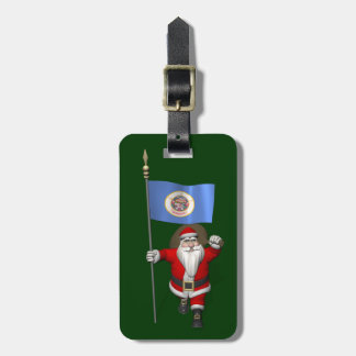 Santa Claus With Ensign Of Minnesota Luggage Tag