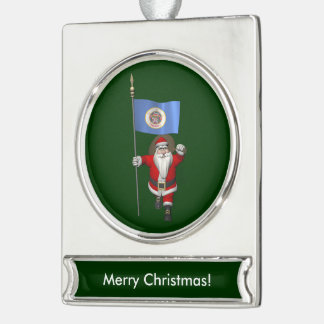Santa Claus With Ensign Of Minnesota Silver Plated Banner Ornament