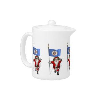 Santa Claus With Ensign Of Minnesota Teapot