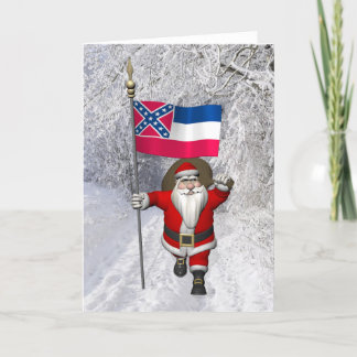 Santa Claus With Ensign Of Mississippi Holiday Card