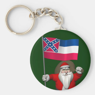 Santa Claus With Ensign Of Mississippi Keychain