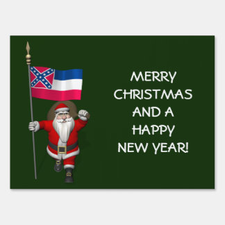 Santa Claus With Ensign Of Mississippi Lawn Sign