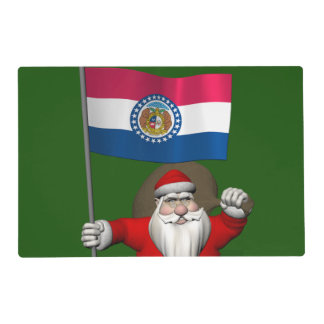 Santa Claus With Ensign Of Missouri Laminated Place Mat