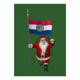 Santa Claus With Ensign Of Missouri Print