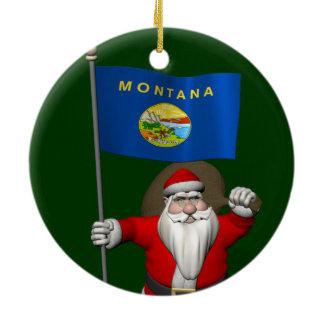 Santa Claus With Ensign Of Montana Ceramic Ornament