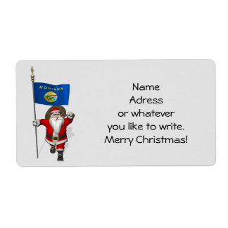 Santa Claus With Ensign Of Montana Label