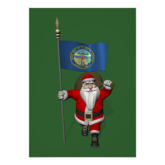 Santa Claus With Ensign Of Nebraska Poster