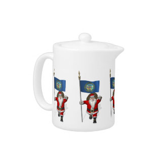 Santa Claus With Ensign Of Nebraska Teapot