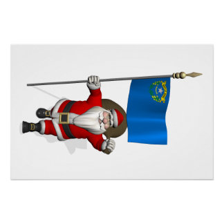 Santa Claus With Ensign Of Nevada Poster