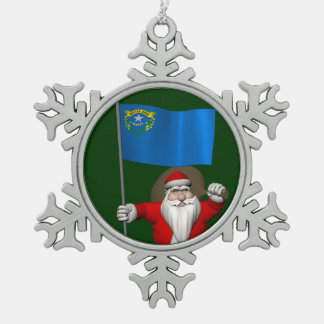 Santa Claus With Ensign Of Nevada Snowflake Pewter Christmas Ornament