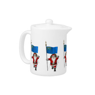 Santa Claus With Ensign Of Nevada Teapot
