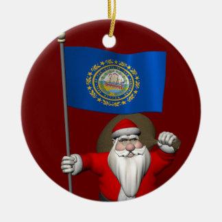 Santa Claus With Ensign Of New Hampshire Ceramic Ornament