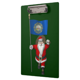 Santa Claus With Ensign Of New Hampshire Clipboard