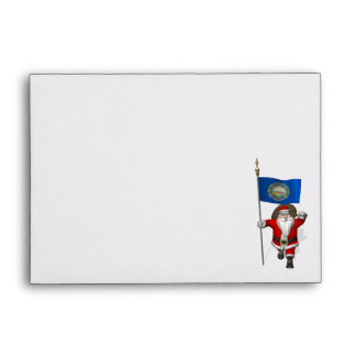Santa Claus With Ensign Of New Hampshire Envelope