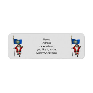 Santa Claus With Ensign Of New Hampshire Return Address Label