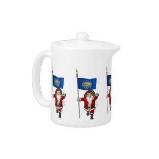 Santa Claus With Ensign Of New Hampshire Teapot