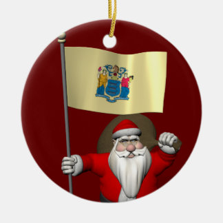 Santa Claus With Ensign Of New Jersey Ceramic Ornament
