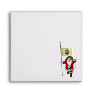 Santa Claus With Ensign Of New Jersey Envelope