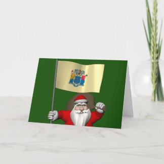 Santa Claus With Ensign Of New Jersey Holiday Card