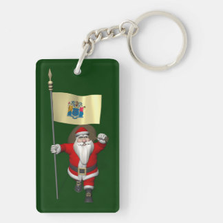 Santa Claus With Ensign Of New Jersey Keychain