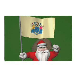Santa Claus With Ensign Of New Jersey Laminated Placemat