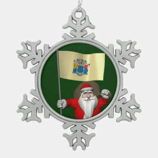 Santa Claus With Ensign Of New Jersey Snowflake Pewter Christmas Ornament