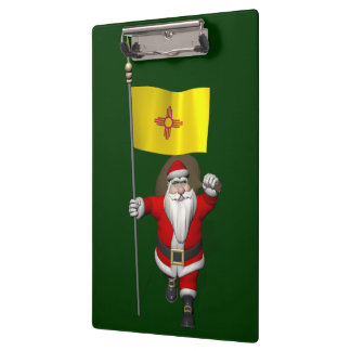 Santa Claus With Ensign Of New Mexico Clipboard