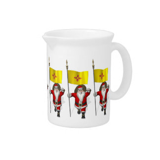 Santa Claus With Ensign Of New Mexico Drink Pitchers