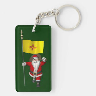 Santa Claus With Ensign Of New Mexico Keychain