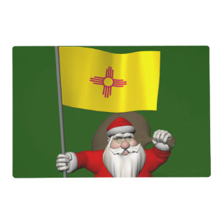 Santa Claus With Ensign Of New Mexico Laminated Place Mat