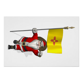 Santa Claus With Ensign Of New Mexico Poster