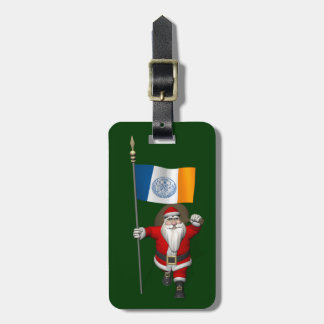 Santa Claus With Ensign Of New York City Luggage Tag
