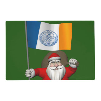 Santa Claus With Ensign Of New York City NY Laminated Placemat