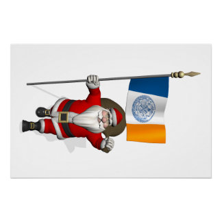 Santa Claus With Ensign Of New York City NY Poster