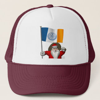 Santa Claus With Ensign Of New York City NY Trucker Hat