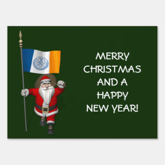 Santa Claus With Ensign Of New York City Sign