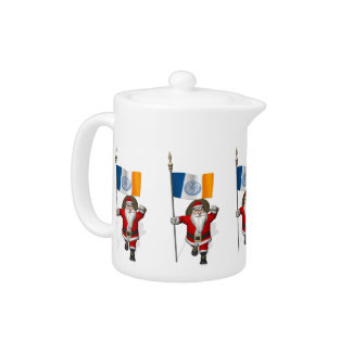 Santa Claus With Ensign Of New York City Teapot