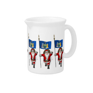 Santa Claus With Ensign Of New York US State Beverage Pitcher