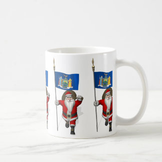 Santa Claus With Ensign Of New York US State Coffee Mug