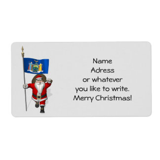 Santa Claus With Ensign Of New York US State Label
