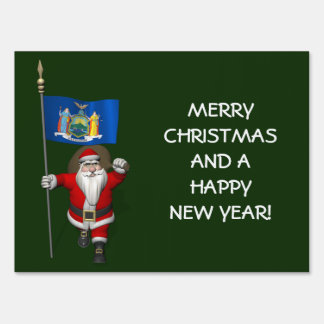 Santa Claus With Ensign Of New York US State Lawn Sign